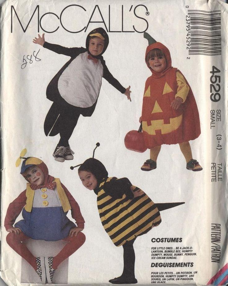 Halloween costume pattern 3T 4T penguin bee Jack O Lantern mouse rabbit bunny FF #McCalls