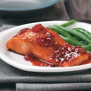 Baked Strawberry Salmon! Always looking for a good salmon recipe! Use low-sodium soy sauce for the marinade...the regular is just a tad bit too salty..