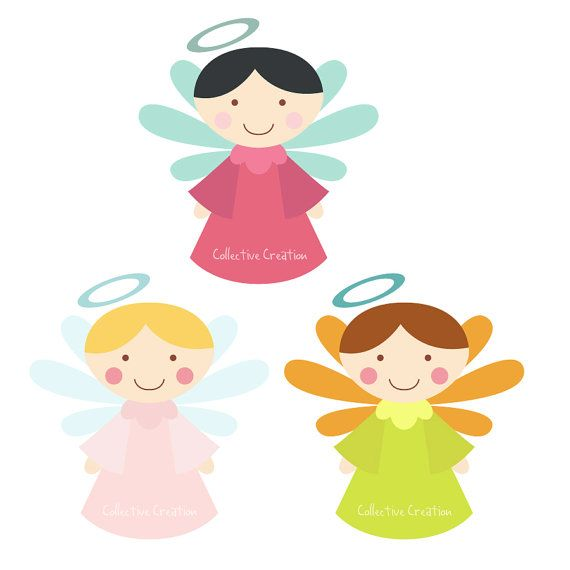 Little Angels Digital Clipart - Clip Art for Commercial and Personal Use    This set contains 3 individual Angels supplied as high resolution