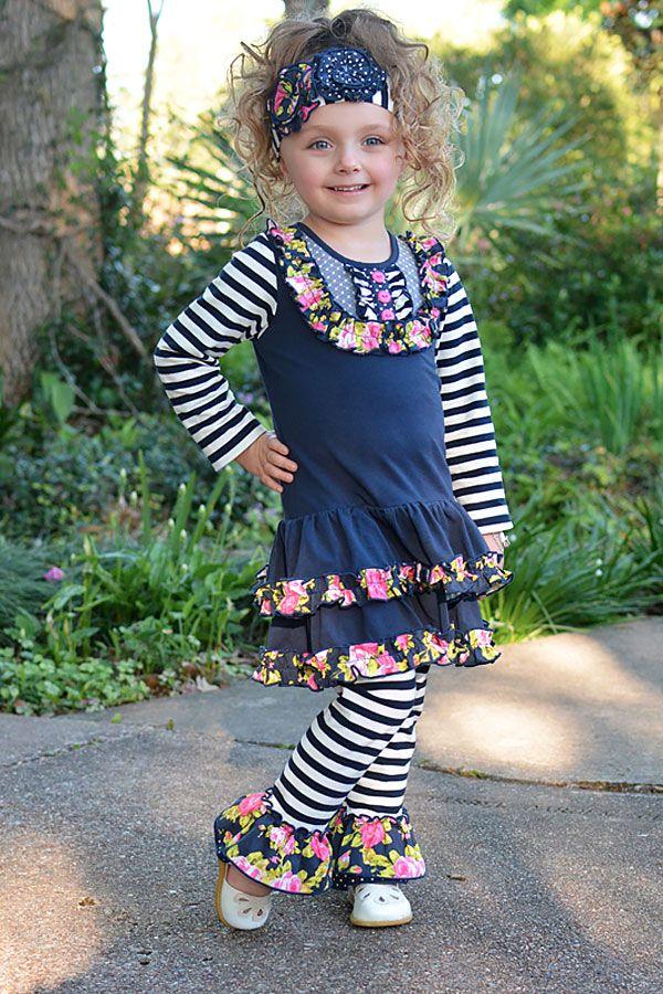 Serendipity Girls Navy Dress with Leggings