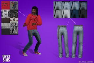 Jeans & Crew-neck Sweatshirt - Onyx Sims