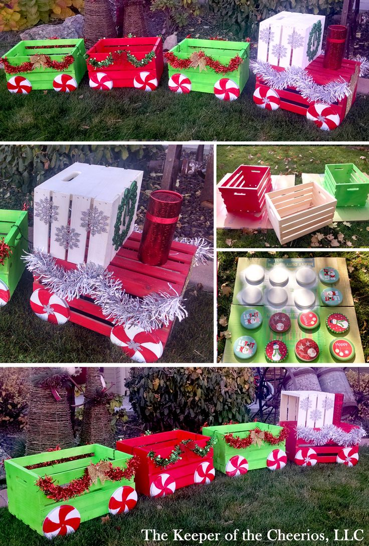 Snoopy outdoor christmas decorations - Diy Christmas Crate Train Craft For Outside