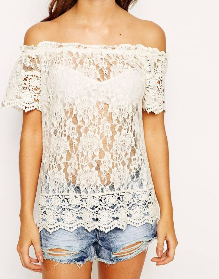 White fff the shoulder bardot lace crop top with denim shorts. Buy it here: http://justbestylish.com/10-best-crop-tops-for-summer-2015/8/
