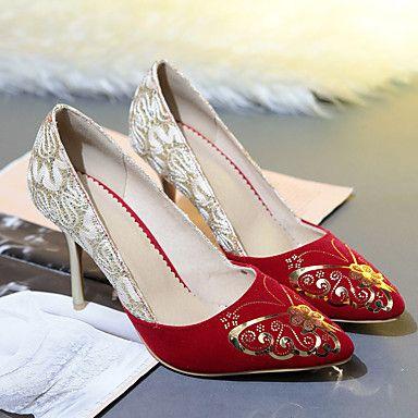 Γυναικεία παπούτσια-Τακούνια-Καθημερινό Πάρτι & Βραδινή Έξοδος-Τακούνι Στιλέτο-Άλλο-Φλις-Μαύρο Κόκκινο 5514635 2017 – €36.25