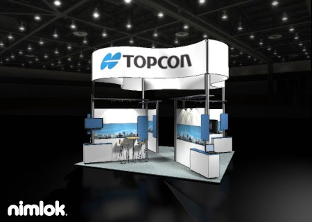 Nimlok creates portable modular trade show exhibits and technology displays. For Topcon, we designed a a custom 20x20' trade show booth to meet their needs.