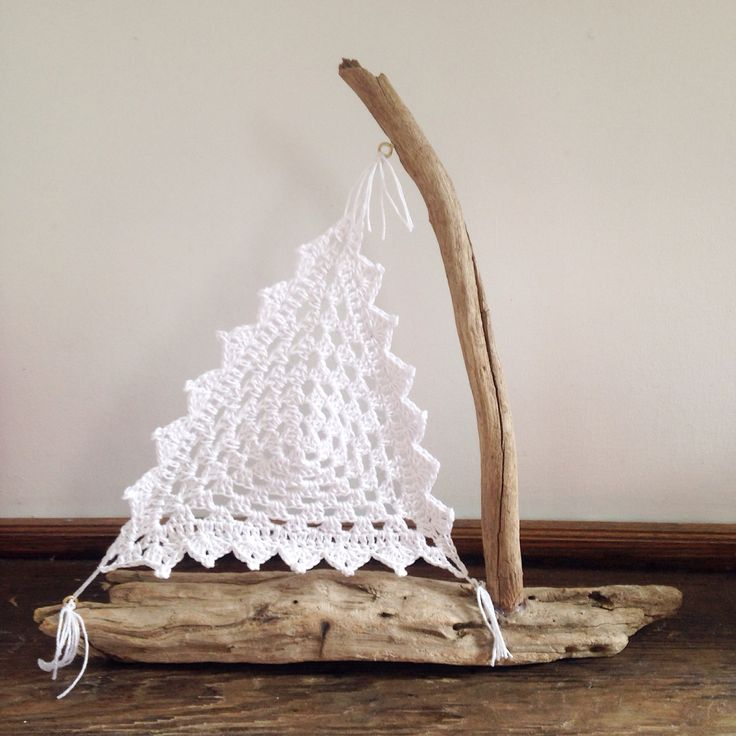 Finished another crochet driftwood Sail boat