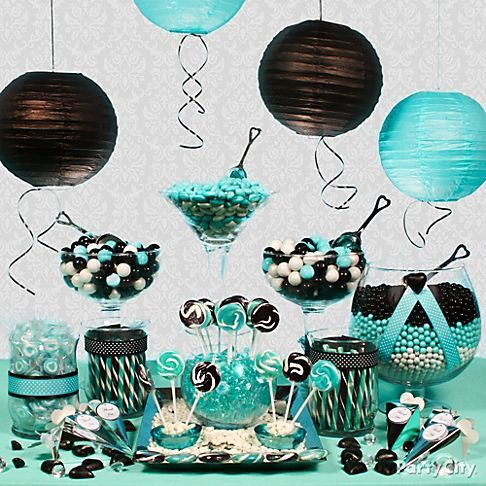 Aqua & blk candy for inside pic frames... start brainstorming what those candies will be so when we find them on sale we can snatch them up