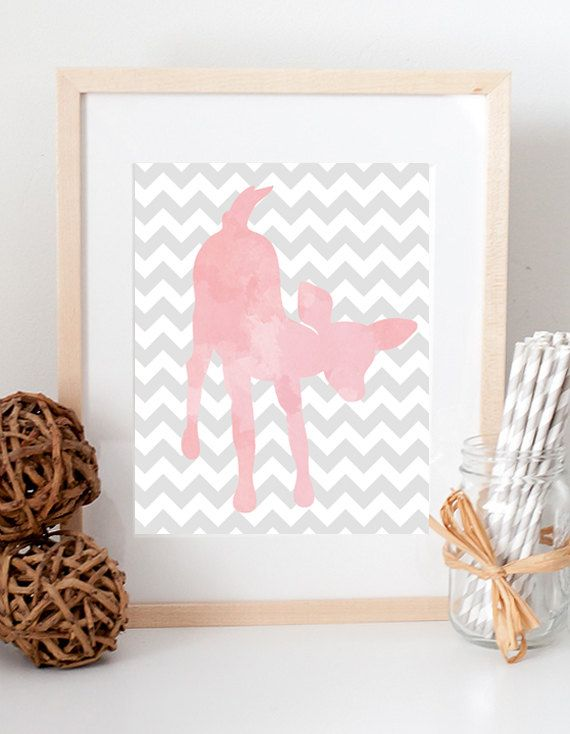 Baby Girl Chevron Zigzag Baby Fawn Deer Woodland watercolor wildlife decor print for nursery kid's room custom colors on Etsy, $10.00