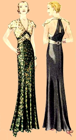 1930s evening gown sewing pattern, modernized by Evadress.