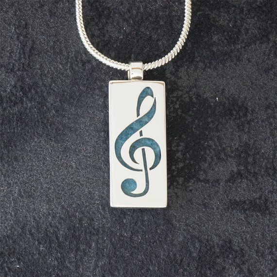 Treble Clef featuring Apatite - Hand-cut REVERSIBLE Sterling Silver Pendant