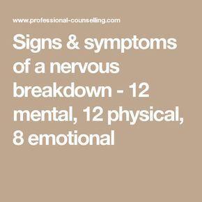 nervous breakdown symptoms test