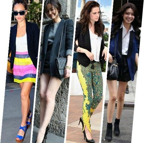 what to wear with black blaze, what to wear with navy blazer, Jessica Alba, Chinese Actress Gao Yuanyuan, Kristen Stewart, Korean singer Choi Soo Young.