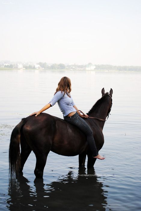 Horse and girl. Summer fun riding bareback in the water. Not sure if sea or lake or river, but any water will do!