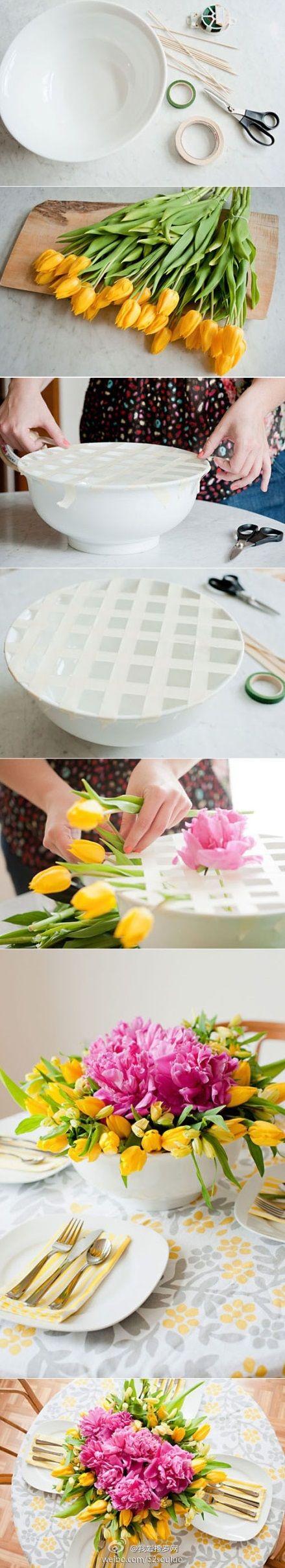 Centro de mesa de flores fácil