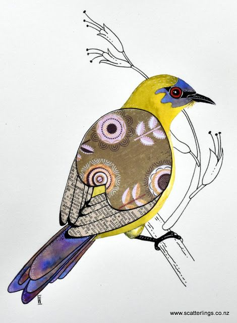 Watercolour and collage painting of a New Zealand Bellbird by Scatterlings