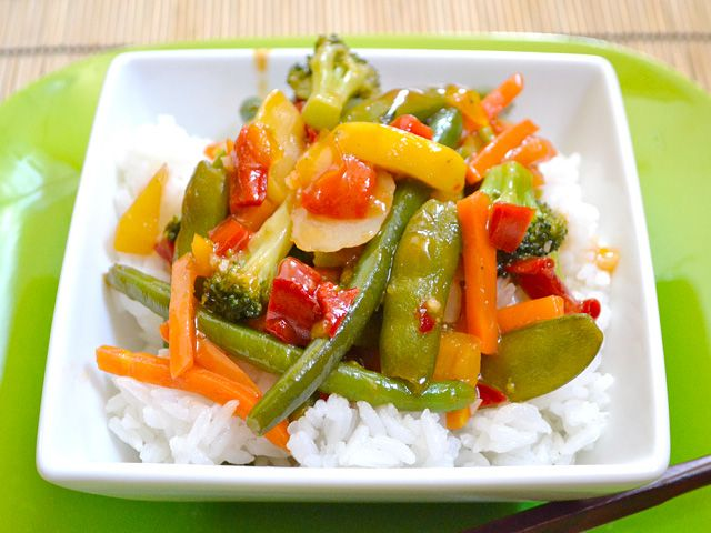 quick sweet & sour stir fry - Budget Bytes - double recipe, add 1 lb of sautéed turkey breast, two bags of frozen veggies - makes enough for leftovers!