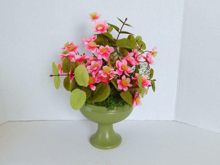 Vintage Mccoy Pottery Vase  With Floral Arrangement Japanese Cherry Blossom Eucalyptus Oriental Mid Century Decor  USA Pottery Mod Decor by VintageH2H on Etsy