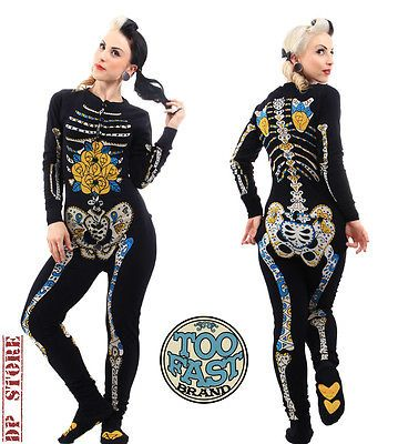 Too Fast Gothic One Piece Pajama Pyjamas Zombie Skeleton Goth Shirt Pants Emo XL | eBay