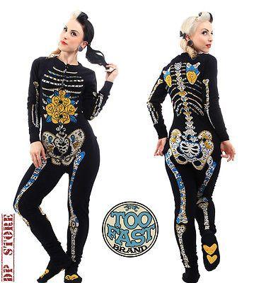 Too Fast Gothic One Piece Pajama Pyjamas Zombie Skeleton Goth Shirt Pants Emo L   eBay