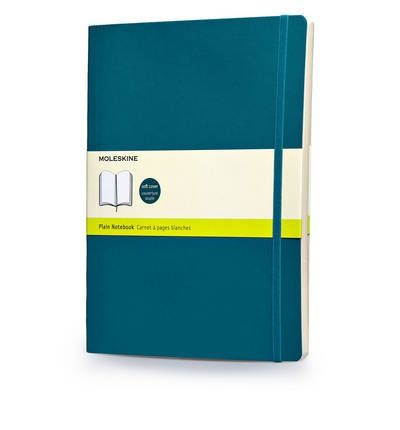 Moleskine's extra-large plain notebook features a soft, underwater blue cover with rounded edges, a ribbon bookmark and an elastic enclosure to keep everything secured. At 25 x 19 cm, it includes 192 acid-free pages, and the inner-pocket fabric matches the cover colour.