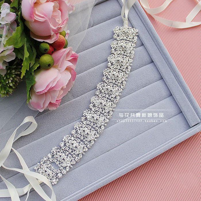 4 галстук ленты в алмаз свадебный головной убор цветок волос группа свадьба аксессуары для волос Свадебные украшения корейского Continental - глобальная станции Taobao
