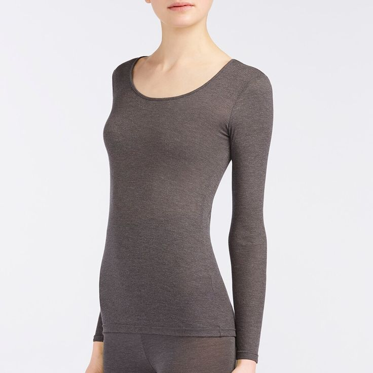 WOMEN HEATTECH Rib Scoop Neck Long Sleeve T-Shirt