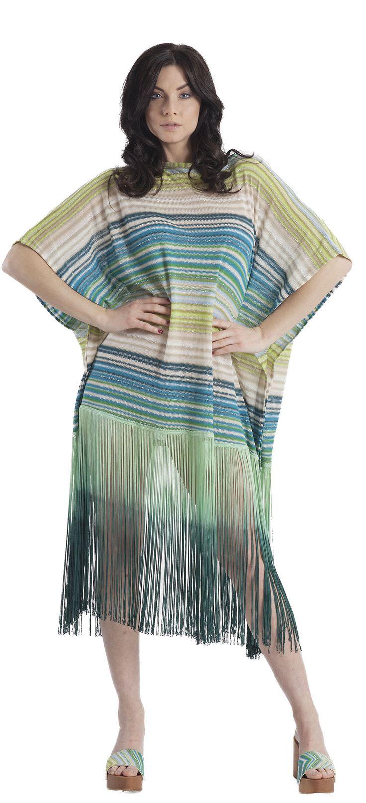 Caftano o abito in maglia rachel jacquard di cotone a disegno geometrico con frange in viscosa e inserti in lurex argento