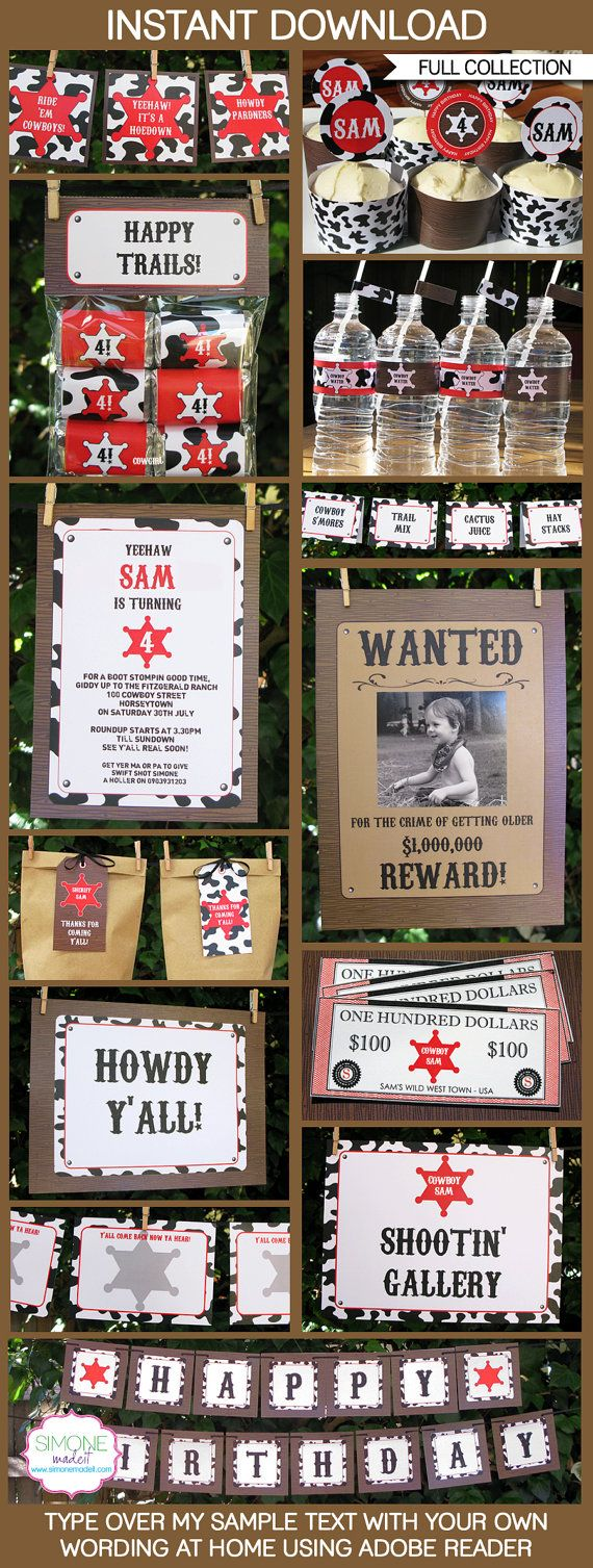 Cowboy Birthday Party - INSTANT DOWNLOAD full Printable Collection + Invitation - EDITABLE text that you personalize with Adobe Reader
