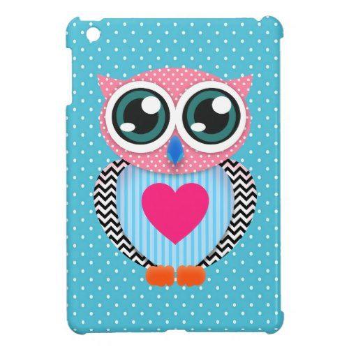 Cute Colorful Pink Polka Dots Funny Owl iPad Mini Cases