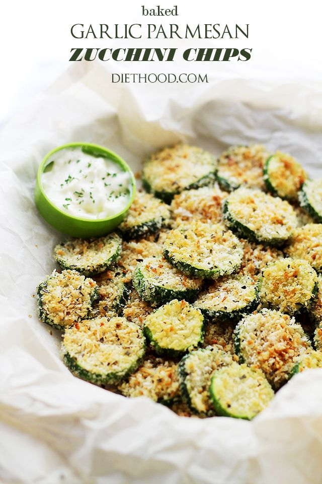 Baked Garlic Parmesan Zucchini Chips - Crispy and flavorful baked zucchini chips covered in seasoned panko bread crumbs with garlic and Parmesan.