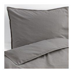 IKEA - ÄNGSLILJA, Duvet cover and pillowcase(s), Twin, , The quilt cover is washed using a method that brings out its harmonious colors and gives a softer feel against your skin.Cotton feels soft and nice against your skin.Concealed snaps keep the comforter in place.