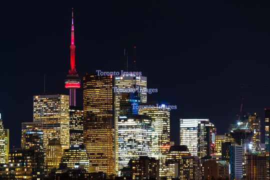Toronto, Canada: urban skyline with CN tower at night