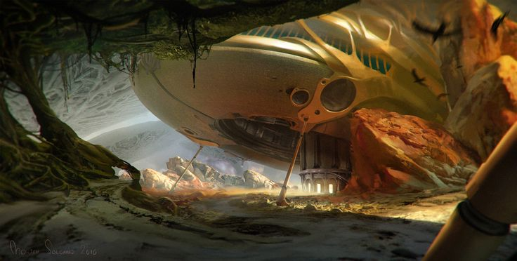 Alien Landscape, Morten Solgaard Pedersen on ArtStation at https://www.artstation.com/artwork/EEr0N