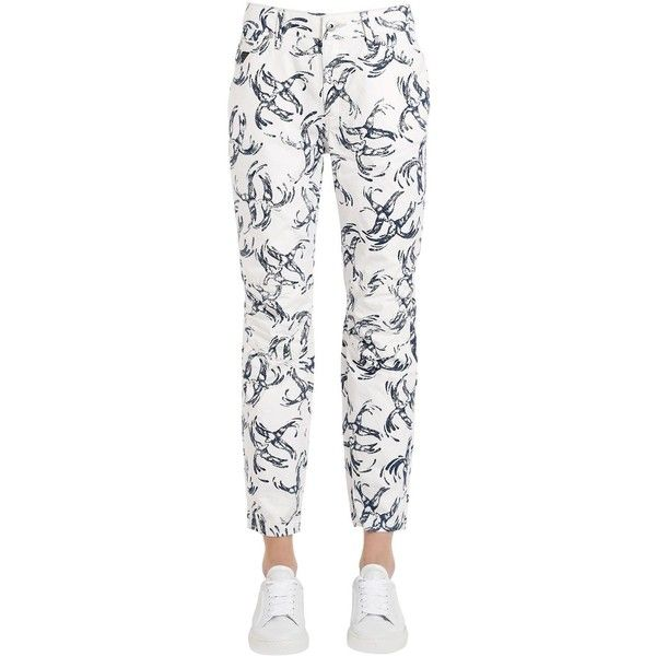 G-star By Pharrell Williams Women Chinese Willow Print Cotton Denim... (2.490 ARS) ❤ liked on Polyvore featuring jeans, g star raw jeans, white jeans, g-star raw, cotton denim jeans and print jeans