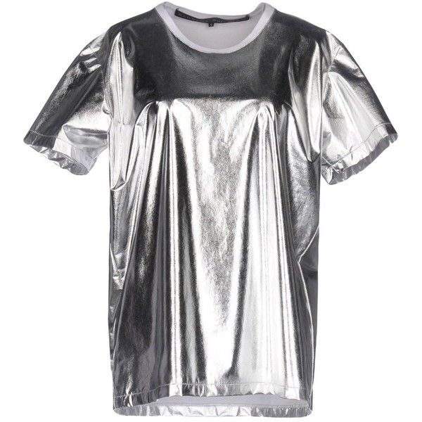 Barbara Bui T-shirt ($314) ❤ liked on Polyvore featuring tops, t-shirts, silver, short sleeve tee, short sleeve tops, silver t shirt, white tops and jersey t shirt