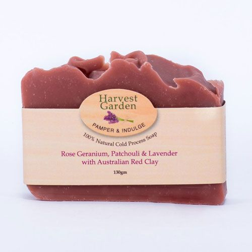 Rose Geranium, Patchouli & Lavender with Red Clay Soap