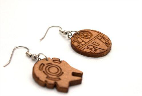 Star Wars earrings lasercut from recycled cedar venetian blinds! - $30