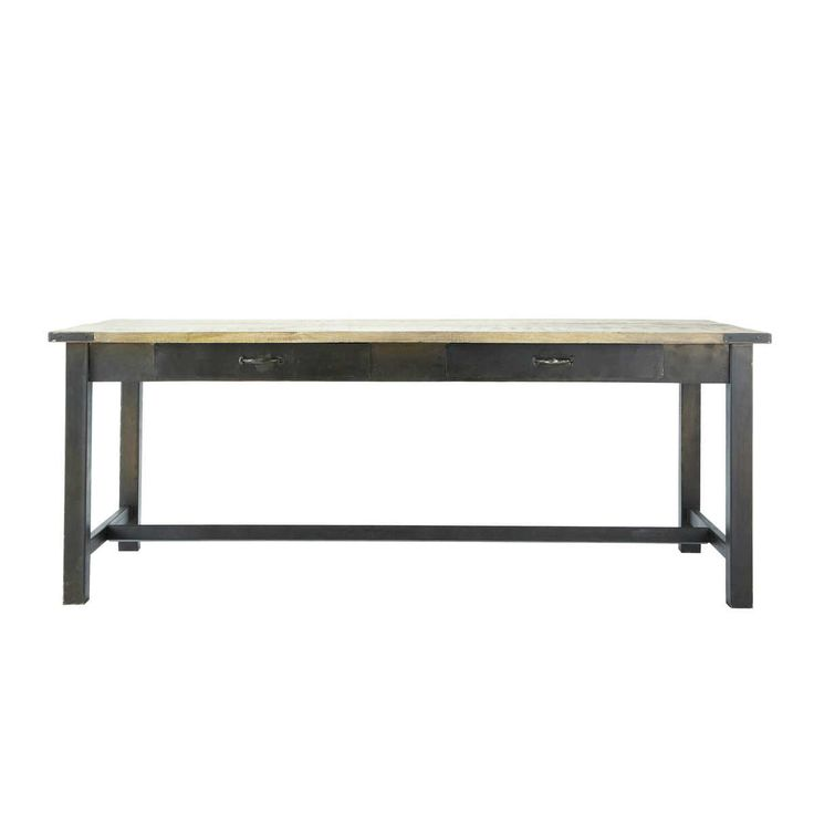 Mango wood and metal dining table W 200cm Alfred