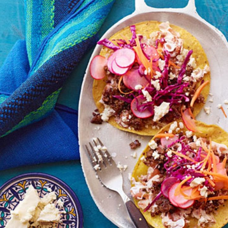 Beef Tostadas with Beans & Pickled Veggies - Rachael Ray Every Day