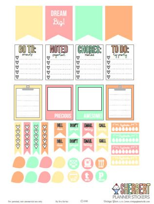 Sherbert Planner Stickers | Free printable download for personal use only.