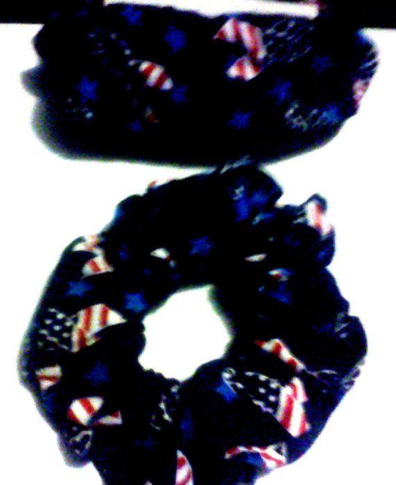 Tye Dye Grinder ~ Hand made red white and blue ribbon hair scrunchie