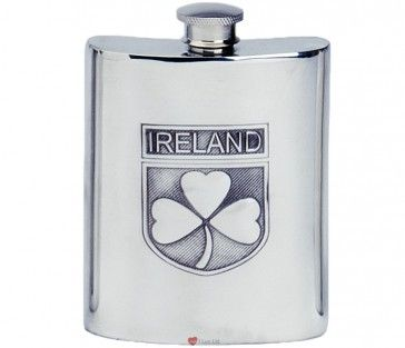 6oz Pewter Spirit Liquor Hip Flask - Kidney Shape With IRELAND and an Irish Shamrock on a Shield Only £34.99  http://iluvscotland.co.uk/occasions/saint-patricks-day