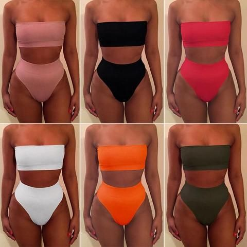 Womens High Waisted Swimwear Bandeau Strapless Bikini Set Swimsuit Bathing Suit …