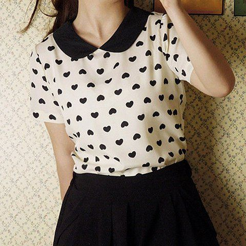 Sweet Style Peter Pan Collar Short Sleeve Heart Print Chiffon Women's Blouse