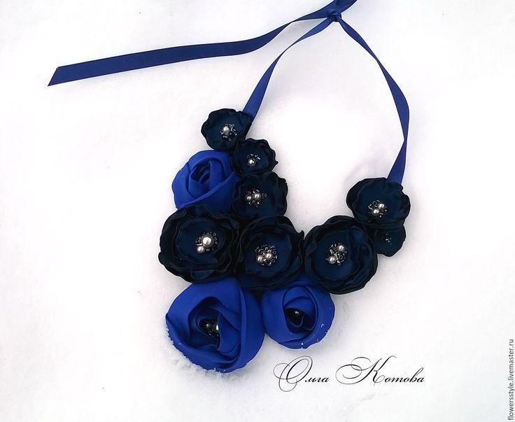 Купить Ожерелье из ткани Королевское синее колье - темно-синий, синий, королевский синий