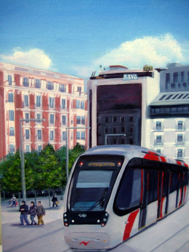 Óleo 33 x 46 de Javier Úcar - Tríptico Plaza de España - Zaragoza (Detalle izda.)