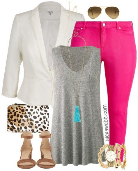 Plus Size Hot Pink Jeans Outfit - Plus Size Fashion for Women - alexawebb.com #alexawebb
