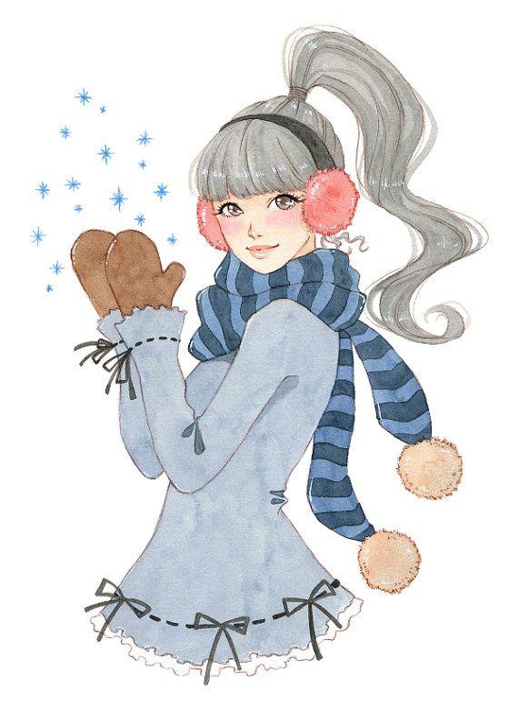 Manga art cute wall decor winter decor girl art print by milkyink