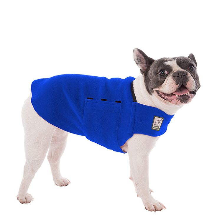 Blue French Bulldog Dog Tummy Warmer, great for warmth, anxiety and laying with our dog rain coat. High performance material. Made in the USA.