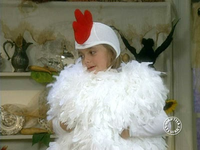 Martha and Jodi Levine demonstrate how to make a baby chicken costume.